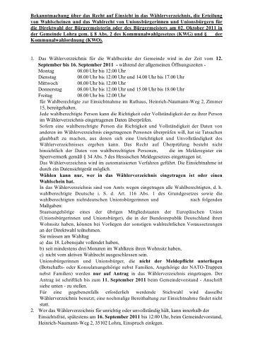 Kommunalwahlordnung (KWO). 12. September bis 16  ... - Lohra