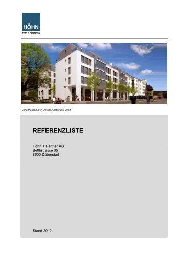 R E F E R E N Z L I S T E - Höhn + Partner AG