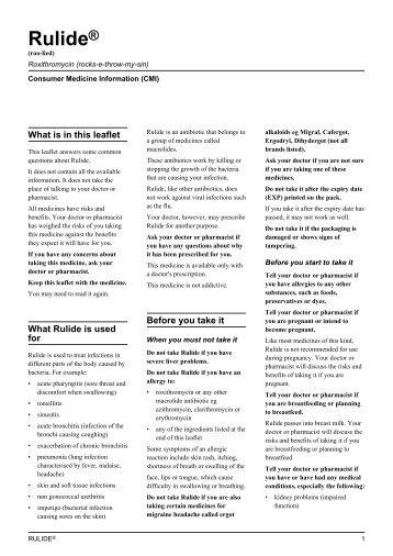 Rulide® Consumer Medicine Information (CMI) - Sanofi