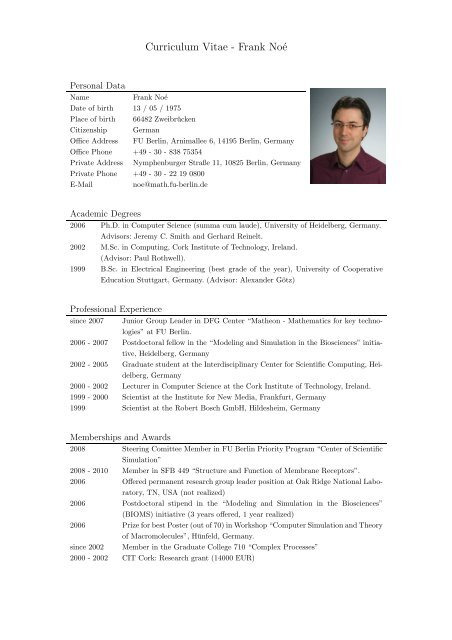 Curriculum Vitae Frank Noe Frank Noe S Research Pages