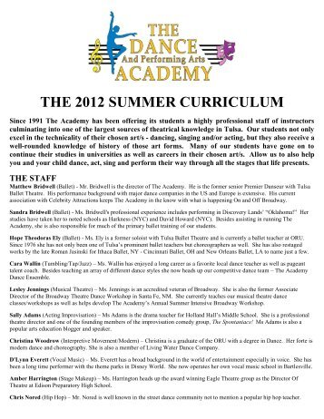 the 2012 summer curriculum - The Dance And Performing Arts ...