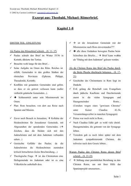 Exzerpt Aus Theobald Michael Römerbrief Kapitel Vaticarstende