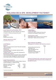 THALASSA SEA & SPA DEVELOPMENT FACTSHEET - Accor