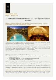Le Médina Essaouira Hôtel Thalassa sea & spa rejoint la ... - MGallery