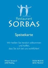 Restaurant Speisekarte - Restaurant Sorbas