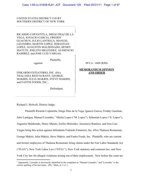 1 united states district court southern district of new york ricardo
