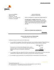 Avis et déclaration du séquestre - PwC