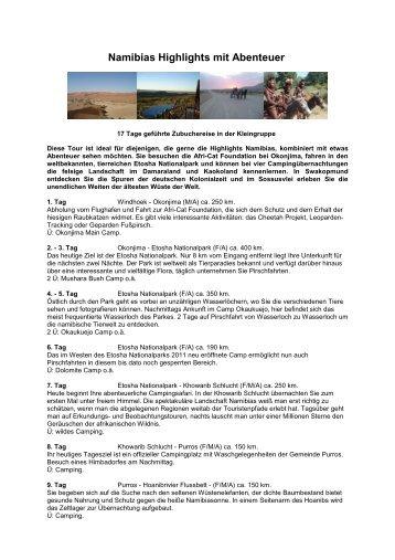 Namibias Highlights mit Abenteuer - Holdener Reisen