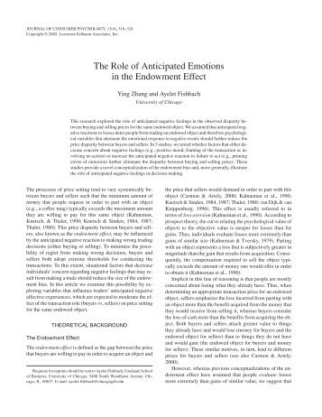 The Role of Anticipated Emotions in the Endowment Effect - Faculty
