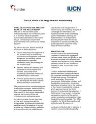 The IUCN-HOLCIM Programmatic Relationship