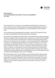 Pressemitteilung Investa Holding GmbH ernennt Rainer Thaler zum ...