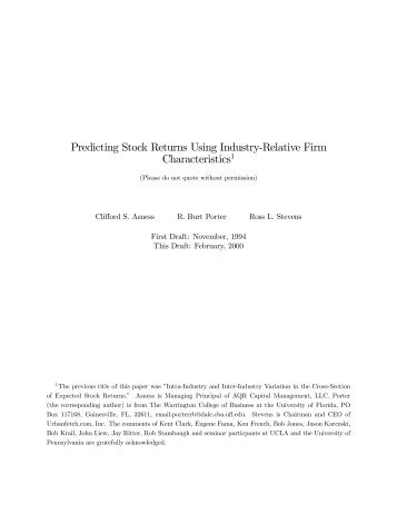 Predicting Stock Returns Using Industry-Relative Firm ... - Quant