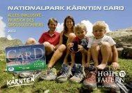 Die Nationalpark Kärnten Card - Katalog Sommer 2011
