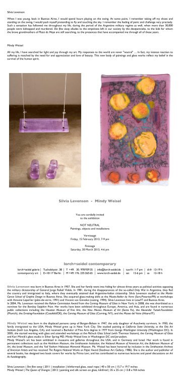 Silvia Levenson - Mindy Weisel lorch+seidel contemporary