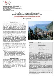 Bildungsurlaub - Cinque Terre . Flyer - LIW
