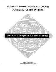Academic Program Review Manual - American Samoa Community ...