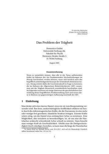 Das Problem der Trägheit - PhilSci-Archive