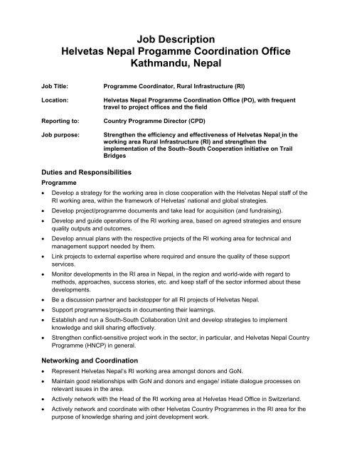 Job Description Helvetas Nepal Progamme Coordination Office
