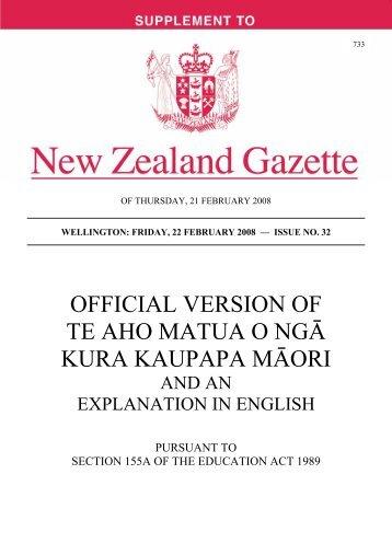 official version of te aho matua o ngɩ kura kaupapa mɩori - NZCCs