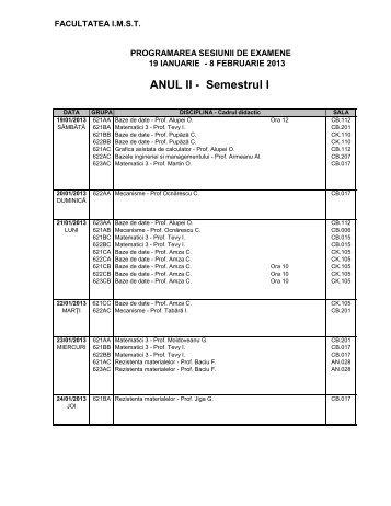 ANUL II - Semestrul I - IMST