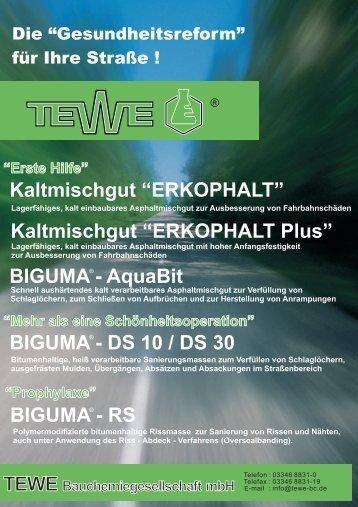 Kaltasphalt TEWE 01 11 1 - TEWE Bauchemiegesellschaft mbH
