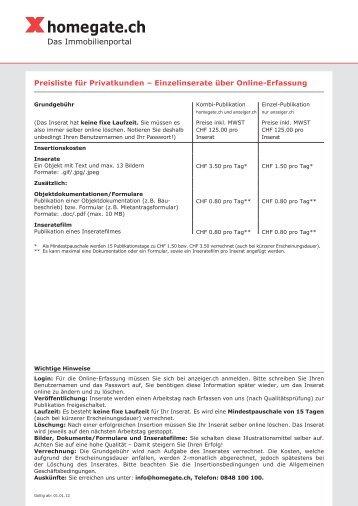 Preisliste für Privatkunden – Einzelinserate über ... - Homegate.ch