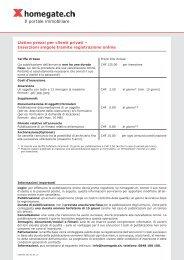 Listino prezzi per clienti privati – Inserzioni singole ... - Homegate.ch