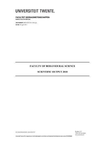 Scientific Report 2010 - Universiteit Twente