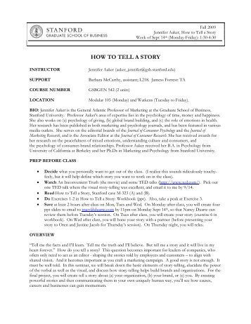 HOW TO TELL A STORY - Stanford University
