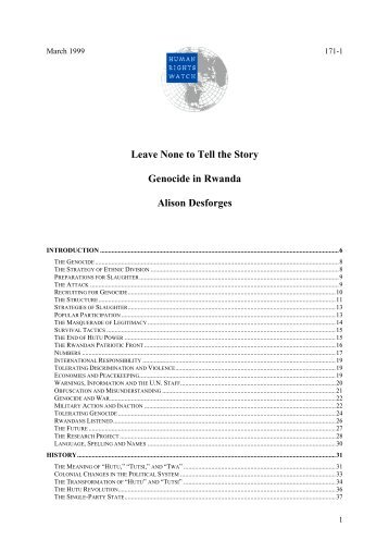 Leave None to Tell the Story : Genocide in Rwanda - Ethiopia: A ...