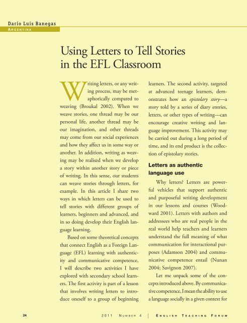 Using Letters to Tell Stories in the EFL Classroom - American English