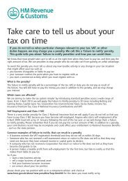 Take care to tell us about your tax on time