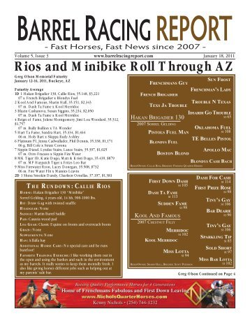 Rios and Minibike Roll Through AZ - Barrel Racing Report