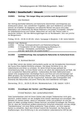 Politik / Gesellschaft / Umwelt - Borgentreich