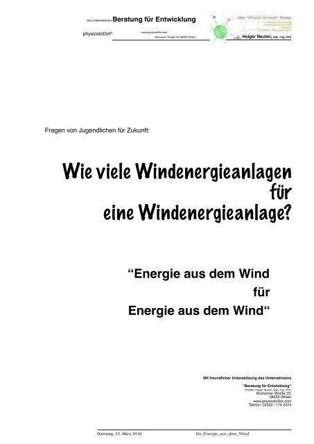 Wieviele Windenergieanlagen für eine ... - physicstoDot