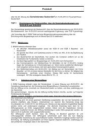 Protokoll über die 29. Sitzung des Gemeinderates Seukendorf
