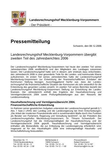 Jahresbericht 2006 Teil 2 - Landesrechnungshof Mecklenburg ...