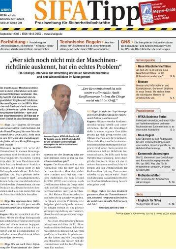 """""""Wer sich noch nicht mit der Maschinen- richtlinie ... - SIFATipp"""