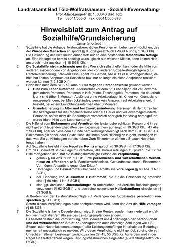 Hinweisblatt zum Antrag auf Sozialhilfe/Grundsicherung