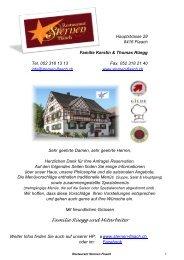 Familie Kerstin & Thomas Rüegg - Restaurant Sternen Flaach
