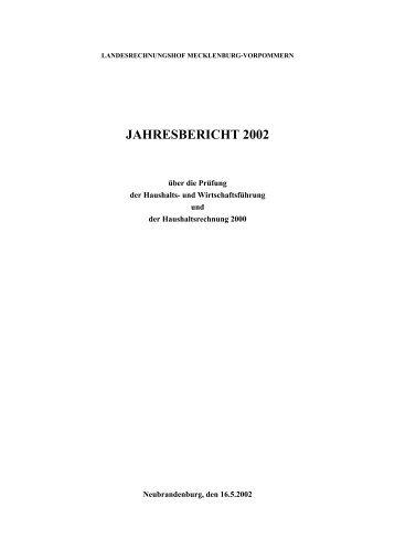 Jahresbericht 2002 - Landesrechnungshof Mecklenburg-Vorpommern