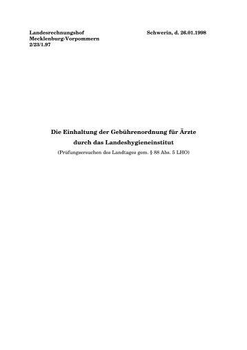 Landeshygieneinstitut 1998 - Landesrechnungshof Mecklenburg ...