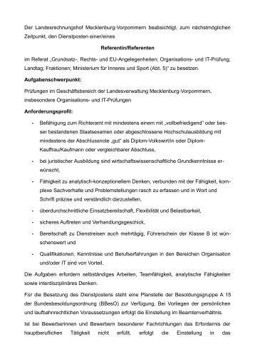 Referent/-in Ref. 12 - Landesrechnungshof Mecklenburg-Vorpommern