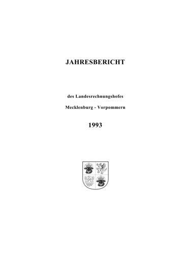 jahresbericht 1993 - Landesrechnungshof Mecklenburg-Vorpommern