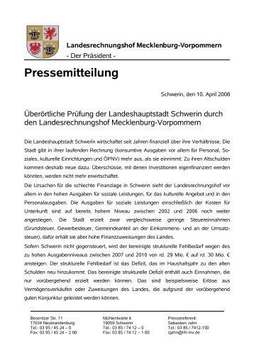 Überörtliche Prüfung der Landeshauptstadt Schwerin (vom 10.04 ...