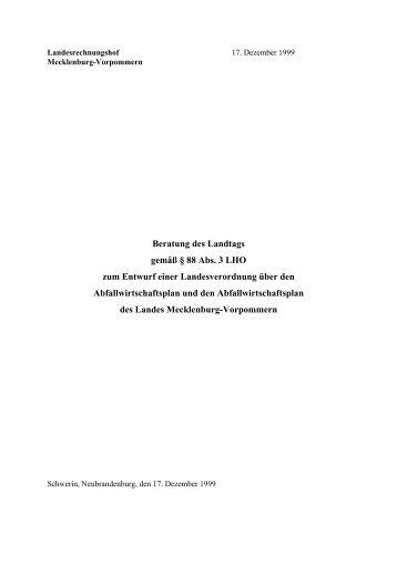 Abfallwirtschaftsplan 1999 - Landesrechnungshof Mecklenburg ...