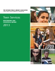 teen Services 2013 - Ontario Library Association