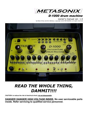 D-1000 owner's manual, PDF - Escape from Noise