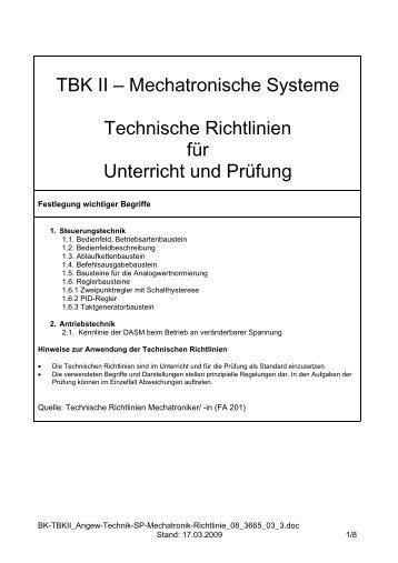 TBK II - Mechatronische Systeme Technische Richtlinien