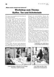 Workshop zum Thema: Kaffee, Tee und Schokolade